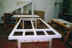 Reproduced large inline sash being painted