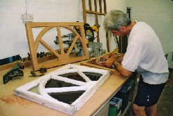 The cartwheel panels to run around the conservatory gantry being carefully copied