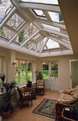 Inside view showing the effect of the Orangery design and glass roof lantern.