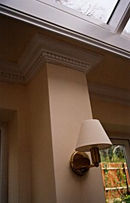 This feature pillar is ideal for wall lights and also shows off the dentil coving well used as a pilaster top.