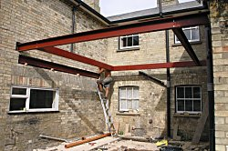 Steel work in place ready for the roof to progress.